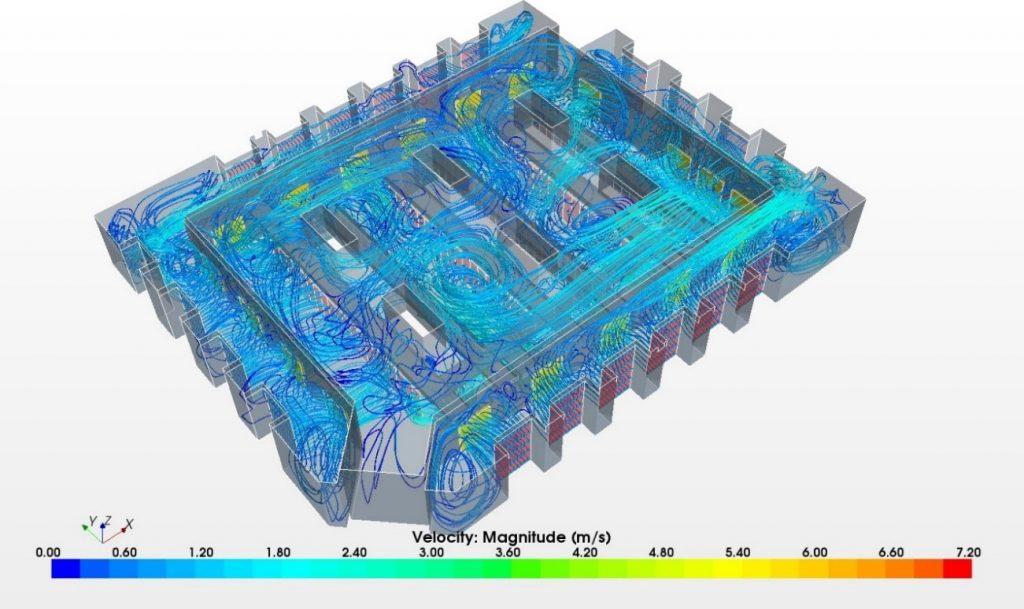 解析事例:換気効果流線 オマーン中央銀行データセンター アマンルーヴィ