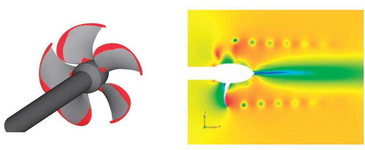 解析例③:プロペラ背部のキャビテーション解析 (VOF,キャビテーション,スライディングメッシュ)