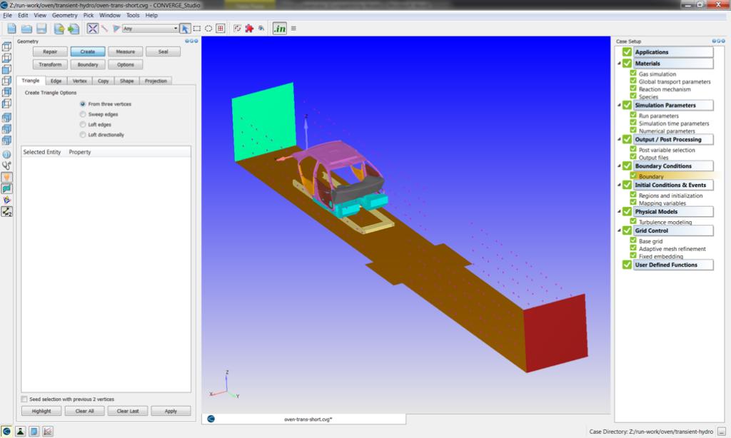 CONVERGE Studioに表示されるBiWと炉の形状(小さな四角は炉のジェットの配列)