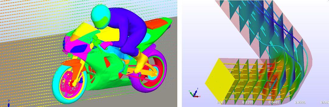 左:速度ベクトル表示 右:流線+速度コンター表示