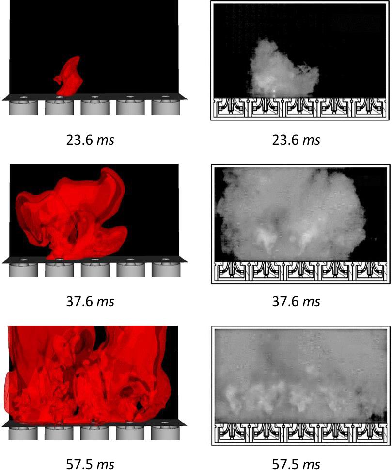 図2:時間が異なる3例の火炎の形状 スパークイベントの発生時間はt = 0.0 msです。左がCONVERGEの結果で右が実験1結果です。